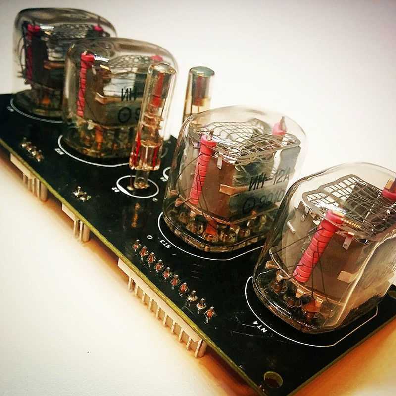 White Retro Nixie Clock